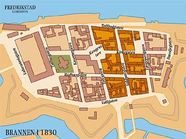 kart over gamlebyen fredrikstad Arc!   Fredrikstad: Bybrannen i 1830 kart over gamlebyen fredrikstad